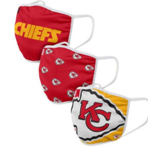 NFL Kansas City Chiefs Face Mask 3 Pack